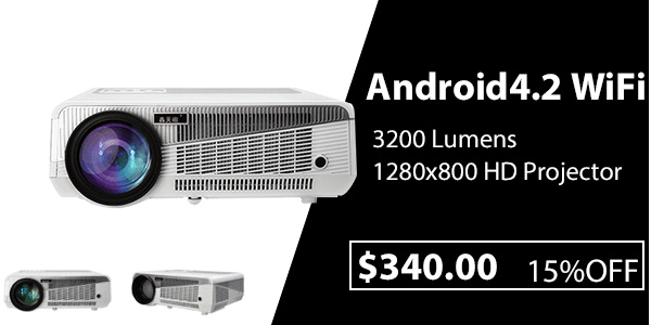 Android4.2 WiFi 3200 Lumens 1280x800 HD Projector